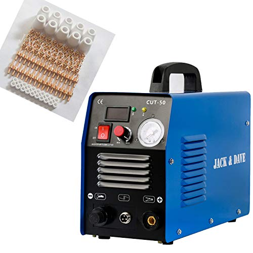 Jack&Dave Plasma Cutter CUT50 Real 50 Amps 110V/220V Dual Voltage DC Inverter IGBT Cutting Machine Clean Cut(With Best Consumables)