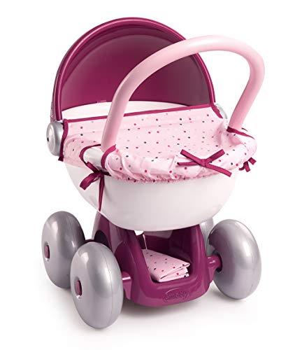 Smoby 220348 Baby Nurse Puppenwagen, für Kinder ab 18 Monaten, Rosa, Lila