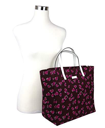 Fashion Shopping Gucci Women's Parasol Print Purple Canvas Tote Bag Handbag