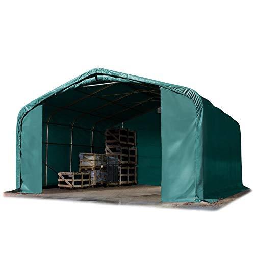 TOOLPORT Standsichere Lagerhalle/Lagerzelt 6 x 6 m/mit Statik feuersichere 720 g/m² PVC Plane Weidezelt dunkelgrün