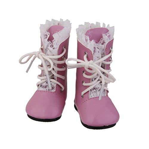 MagiDeal Zapatos Botas Encaje para Muñeca Muchacha Americana Color Rosa