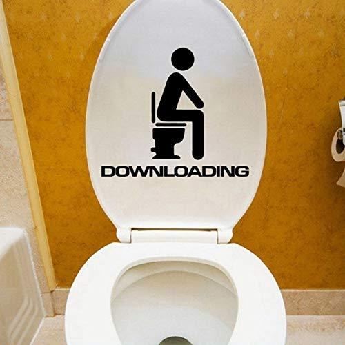 BLOUR Lustige herunterladende englische Buchstabenperson, die auf der Kommode Toilettenwandaufkleber Wohnkultur sitzt