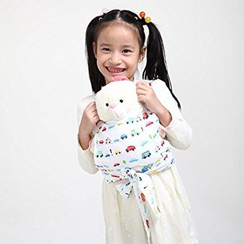Baby Doll Carrier Mei Tai Sling Toy pour enfants Enfant enfant en bas d'enfant Dos, Mini-porteuse, Hibou, Dot, Fleur, Kaléidoscope (Car)