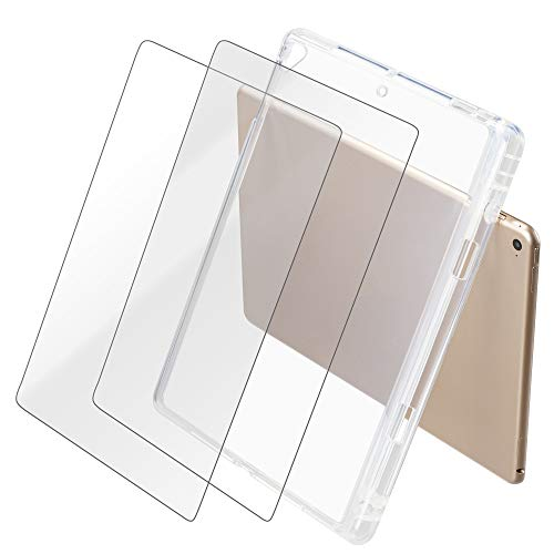 Silicone TPU Soft Clear Case Cover Compatible with iPad 9.7 inches (2017-2018) with 2 Pack Tempered Glass Screen Protectors for iPad 6th Generation