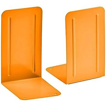 Acrimet Premium Metal Bookends  Heavy Duty   Orange Color   1 Pair