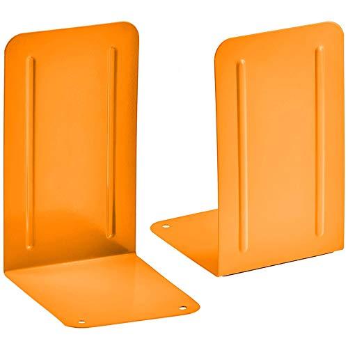 Acrimet Premium Metal Bookends (Heavy Duty) (Orange Color) (1 Pair)