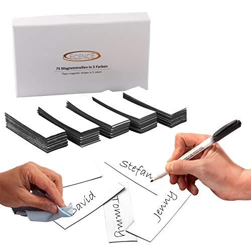 ECENCE 75 Cintas magnéticas reescribibles - 60x20mm Blanco - Tiras Adhesivas recortables - Carteles magnéticos borrables - Etiquetas magnéticas para pizarras Blancas, neveras, tableros mag