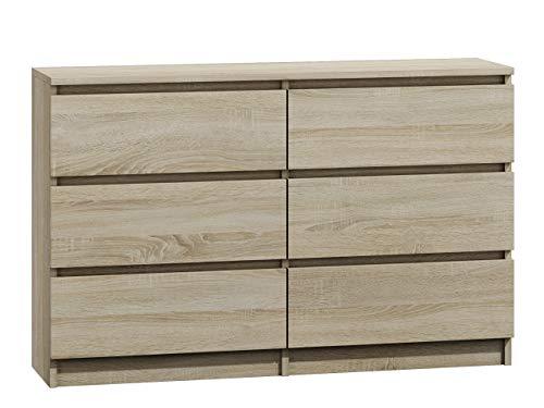 Kommode mit 6 Schubladen Malwa M6 120, Anrichte, Diele, Flur, Highboard, Mehrzweckschrank, Sideboard, Wohnzimmer, Esszimmer (Sonoma Eiche)