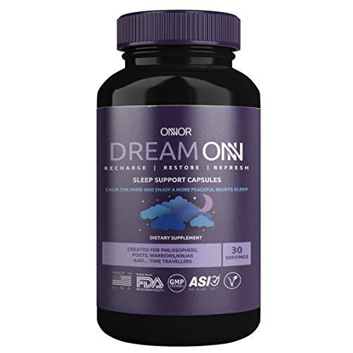 ONNOR Dream ONN Natural Sleep Aid Support Capsules Vegan 200mg 5-HTP, Tryptophan, Magnesium, Zinc, Ashwagandha, L-Theanine, L-Taurine, Vitamin B6