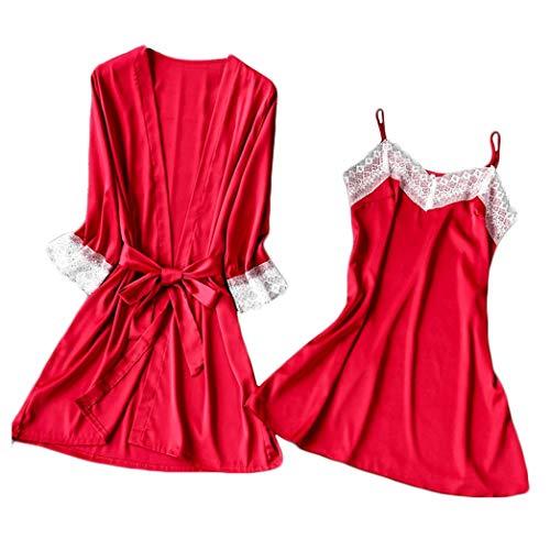 DNOQN 2PC Frauen Spitze Satin Nachtwäsche Bademantel Dessous Pyjama Nachthemd Unterwäsche