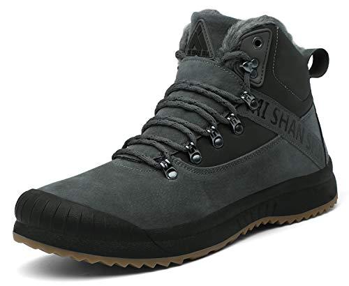 Mishansha Winterschuhe Herren Warm Gefüttert Boots Winter Männer Schneestiefel Outdoor rutschfest Trekking Stiefel Grau Gr.45