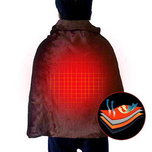 ZDYS Mantón calentado por USB, manta calentada, chal envolvente, almohadilla de calefacción eléctrica recargable por USB, para espalda y hombros, manta de felpa para coche, oficina, hogar, via