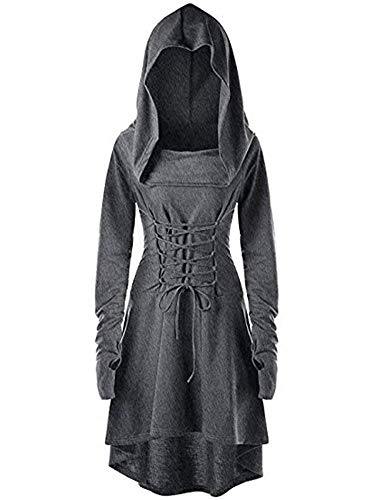 Womens Renaissance Costumes Hooded Robe Lace Up Halloween Medieval Cosplay Cloak Vintage High Low Pullover Dress Grey