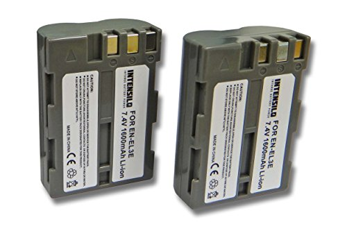 INTENSILO 2X batería Li-Ion 1600mAh (7.4V) para cámara videocámara Nikon D-SLR D200, D300, D300s, D700 y EN-EL3, EN-EL3a, EN-EL3e.