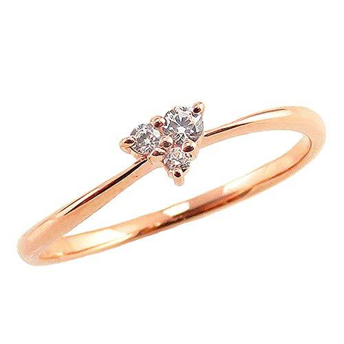 [ジュエリーアイ] ダイヤモンド リング ピンクゴールドK10 10金 スリーストーン ハート トリロジー 3石 ピンキーリング 婚約指輪 指輪 9号