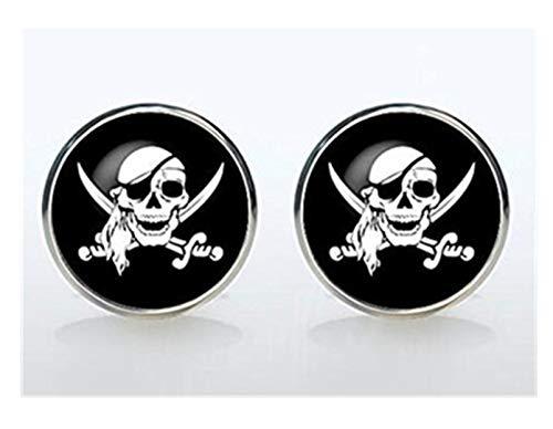 Piraten Schild Manschettenknöpfe versilbert Pirat Skull Totenkopf Manschettenknöpfe