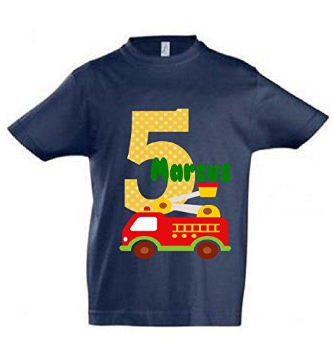 wolga-kreativ T-Shirt Geburtstag Junge ich Bin Schon 1 2 3 4 5 6 7 8 9 Jahre mit Namen Feuerwehr-Auto Geburtstagsshirt personalisiert Kindergeburtstag Geschenk Kinder