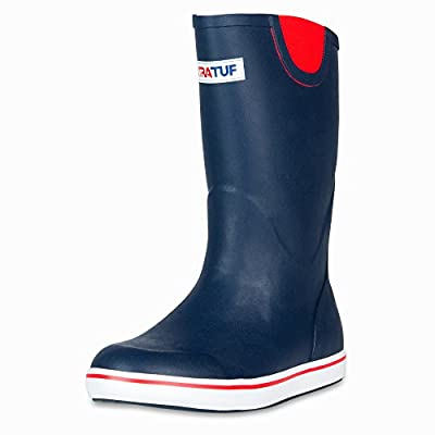"""XTRATUF Performance Series 12"""" Men's Full Rubber Deck Boots, Navy & Red (22732)"""