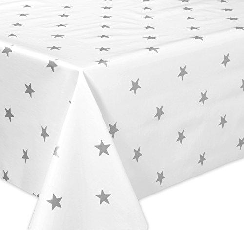 Wachstuchtischdecke OVAL RUND ECKIG Motiv u. Größe wählbar, Tischdecke abwischbar (Eckig 140x160 cm Sterne Weiß Grau)