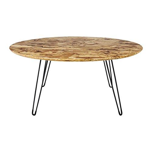 CANETT FURNITURE Misty Tisch / Beistelltisch Modern Couchtisch Rund Natur Holz, Holzdekor, Natur / schwarz, 80 x 80 x 35,5 cm