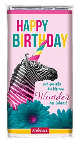 Geburtstag Schokolade Geschenk STEINBECK für Dich Frau Mädel Alles Gute Vollmilch 100g Tafel Mitgebsel Freundin Schwester rosa Einhorn Zebra bunt