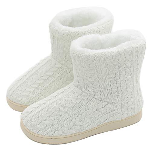 AONEGOLD Pantuflas Mujer Zapatillas de Estar por casa de Mujer Hombre Botas Pantuflas Zapatillas Fluff Antideslizantes Invierno(Blanco,41-42 EU)