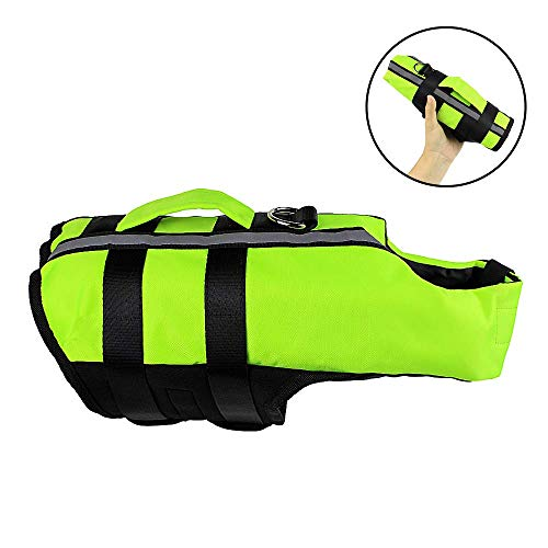 Dog Life Jacket, Reflective Pet Floatation Vest - Adjustable Dog Life Vest with Superior Buoyancy &...
