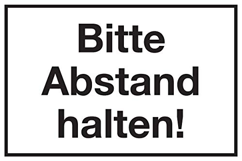 """Metafranc Hinweisschild """"Bitte Abstand halten"""" - 200 x 300 mm - aus Kunststoff - Schnell ersichtlicher & klar verständlicher Warnhinweis / Beschilderung / Infoschild für Schutzmaßnahmen / 503580"""