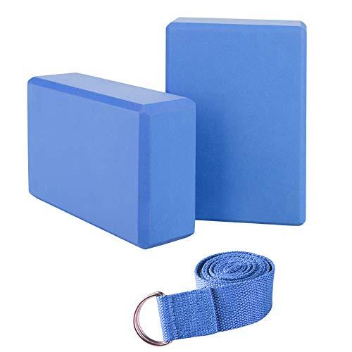 JIM'S STORE Yoga Block Yogablock Kork Yoga Klötze aus Naturkork Eva Yoga Blöcke 2er Set mit 1.8m Yogagurt Yoga Pilates für Anfänger und Fortgeschrittene (Blau)