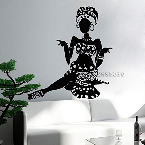 Cartoon Schönheit Film Vinyl Wandtattoo Afrika Kontinent Karte Mädchen Kopftuch ethnischen Stil Aufkleber ethnischen Stil ethnische Minderheit Wohnzimmer Schlafzimmer Bar Club Dekoration 112X138cm