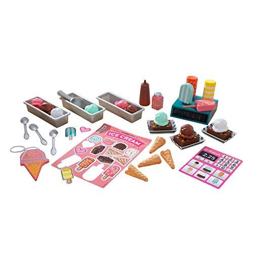 KidKraft 53539 Eisdielen Spielset mit hölzernen Eis-Spielzeug - 20+ Stücke enthalten