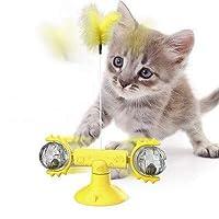 新型のペットのおもちゃ用品chunrenターン猫のおもちゃターンテーブルいじめる猫スティックベントバランス車ペット運動インテリジェンス反応 (Meow ball yellow)