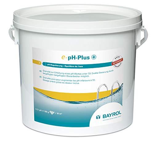 BAYROL E-pH-Plus 5 kg granulado – Elevador de pH – Elevador de pH rápido y Efectivo del Valor del pH en la Piscina – Manejo Sencillo y Seguro Gracias al Vaso dosificador – Alta pureza química