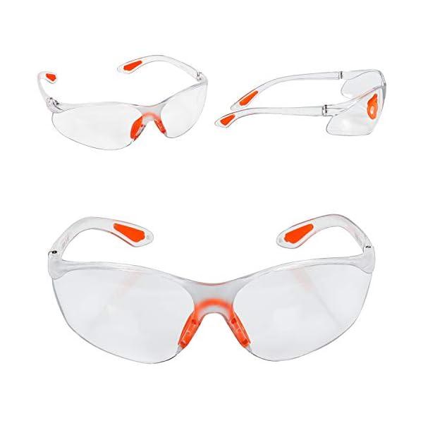 Kurtzy Pack 12 Gafas de Seguridad con Lentes Transparentes Plaquetas Nasales y Patillas de Goma para un Ajuste Cómodo – Equipo Protector Personal Lentes Resistente a Arañazos – Gafas PPE