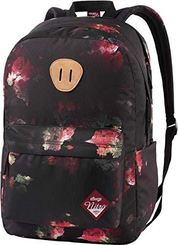 Nitro URBAN PLUS Daypack Damenrucksack Alltag Fahrradtasche Backpack schöne Rucksäcke Schultasche Rücksäcke FrauenKurierrucksack Damentasche Rucksack mit Blumenmuster, Black Rose, 28 L