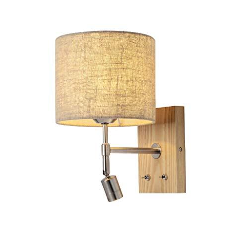 Apliques Lámpara de pared Nordic de la cabecera, lámpara de lectura moderna del LED, pantalla de la tela de lino, luz de la pared de madera sólida del alambre del interruptor for la sala de estar Lámp
