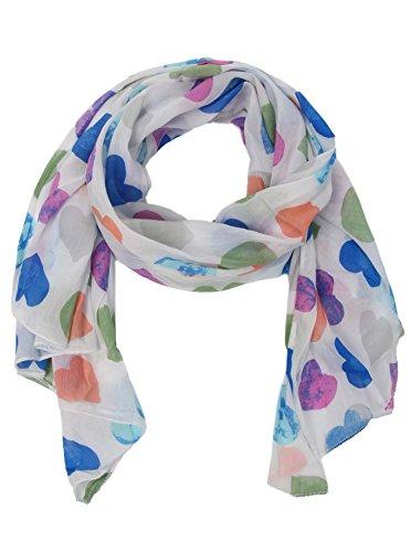 Zwillingsherz Seiden-Tuch Damen Herz Muster - Made in Italy - Eleganter Sommer-Schal für Frauen - Hochwertiges Seidentuch/Seidenschal - Halstuch und Chiffon-Stola Dezent Stilvolles Muster bunt