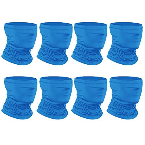 [8-Pack] Neck Gaiter Scarf, Breathable Bandana Face Bandana Cover Cooling Neck Gaiter for Men Women Cycling Hiking Fishing. Blue