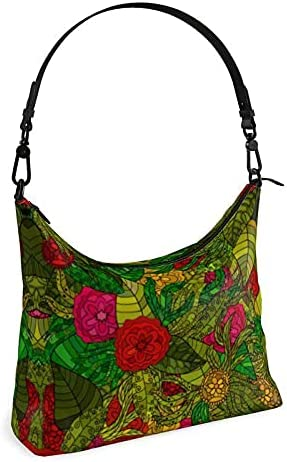 The Fashion Access Hand Drawn Floral Seamless Pattern Square Hobo Bag