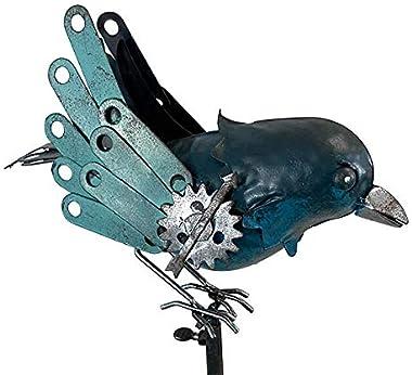 """Esschert Staked Metal Mechanical Bluebird Rocker, 54"""" H"""