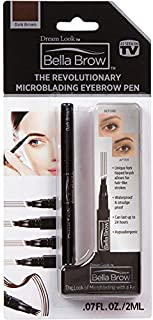 BELLA BROW By Dream Look, Microblading Eyebrow Pen with Precision Applicator (Single Pack - Dark Brown) – As Seen On TV, Natural Looking, Smudge Proof, Waterproof, Long Lasting