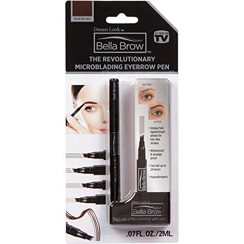 BELLA BROW By Dream Look, Microblading Eyebrow Pen with Precision Applicator (Single Pack - Dark Brown) - As Seen On TV, Natural Looking, Smudge Proof, Waterproof, Long Lasting