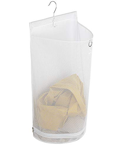 ALYER Hanging Semi Round Storage Mesh BagCollapsible Laundry Hamper Basket with Durable Hanger White