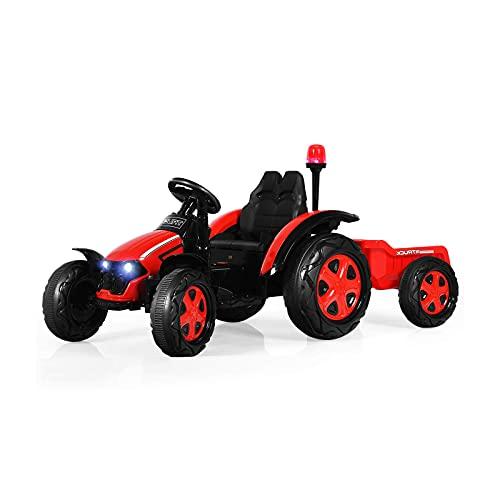 MYRCLMY Niños Tractor eléctrico, niños viajan con Remolque y Control Remoto, Reproductor...