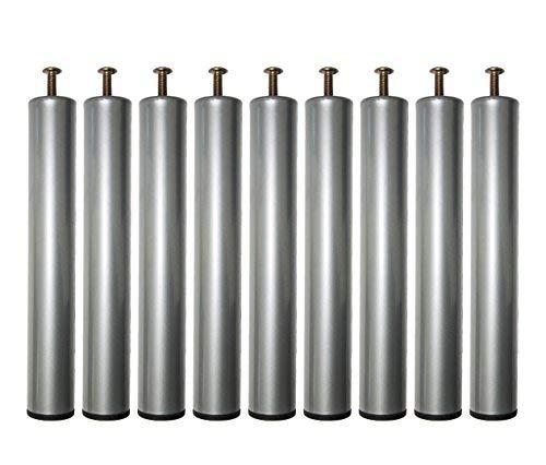 MOG CASA – Patas Somier Cilindro metálicas Juego 9 Unidads 250x38mm … (Gris)