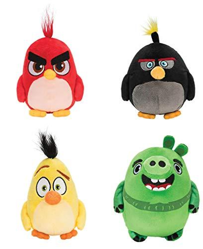 Jazwares - Komplettset 4 Plüsch Angry Birds Red Bomb Chuck Leonard Original ROVIO - Mehrfarbig - 12cm