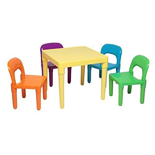 Yi-xir klassiek ontwerp Eén bureau en quadrupletstoelen (50x50x46cm), set van plafietafel en stoel voor kinderen Perfect en comfortabel