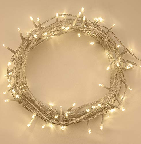 Christmas Lights 200 LED Remote 20m Warm White Indoor/Outdoor Fairy Lights String Tree Lights Festival/Bedroom/Party Decorations Memory Mains Powered 65ft Lit Length 3m/9ft Lead Wire Clear Cable