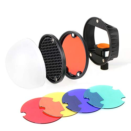 Kit de accesorios del modificador de luz de flash TRIOPO Speedlite con adaptador de montaje universal magnético + bola difusora + reflector de rejilla de panales + 4 piezas de filtros de gel de color
