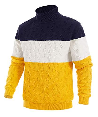 EKLENTSON Męski casualowy sweter bawełniany, sweter z dzianiny, ciepły z golfem